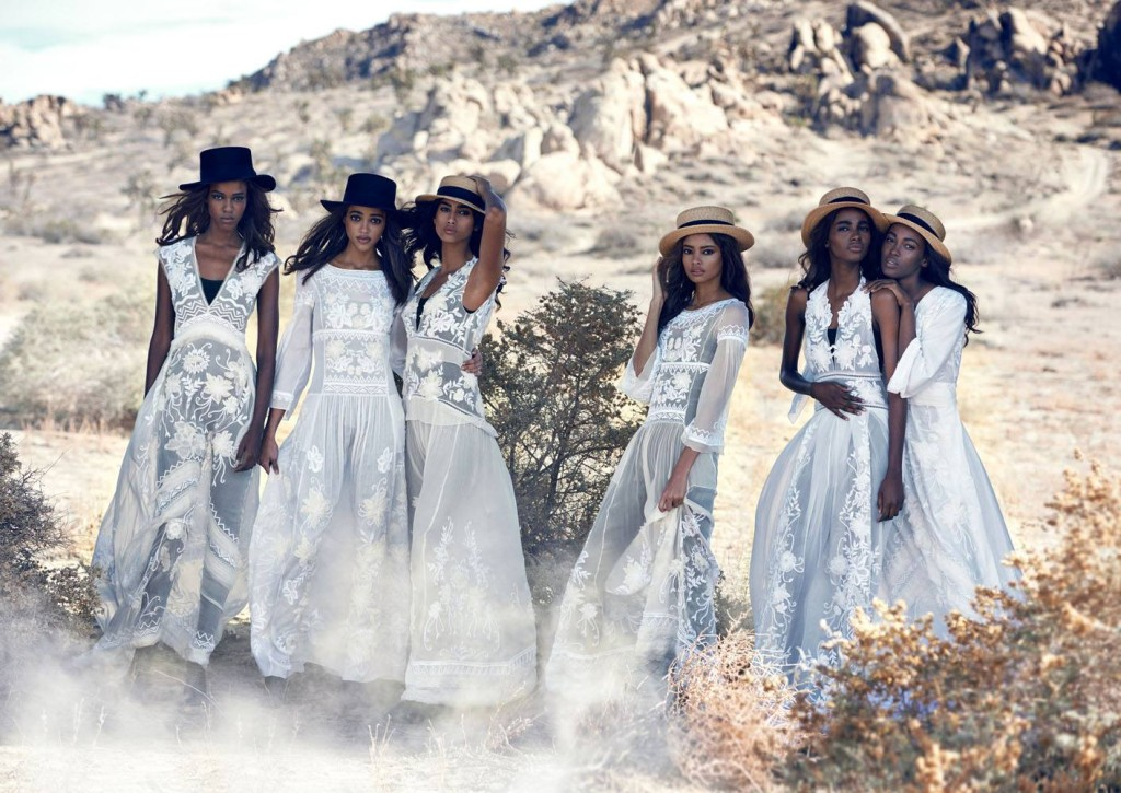 Leila-Nda-Aya-Jones-Imaan-Hammam-Malaika-Firth-Tami-Williams-Kai-Newman-by-Peter-Lindbergh-for-Vogue-US-March-2015-white-dresses